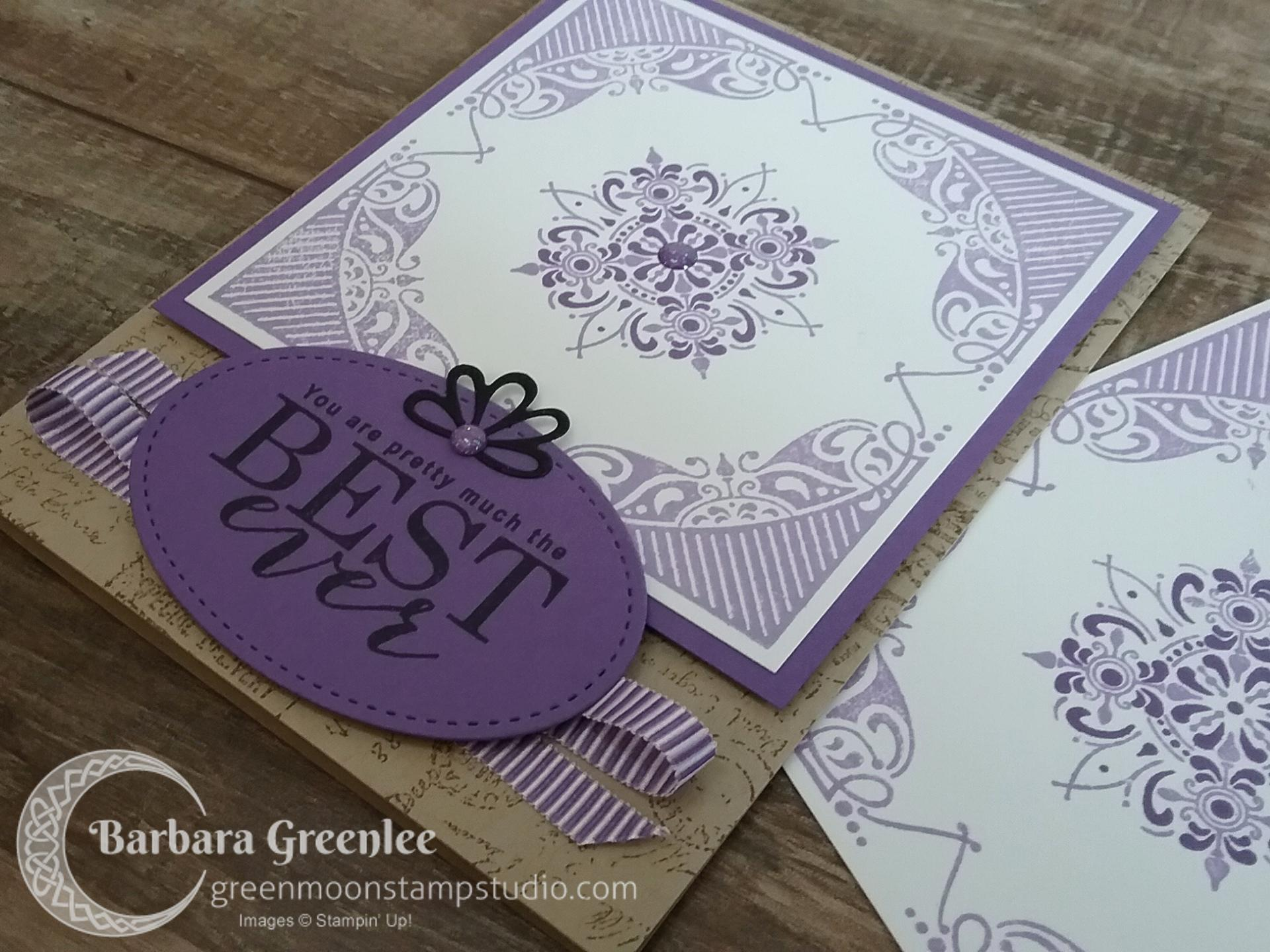 All Adorned stamp set with Post Script background. I used the Stamparatus for perfect placement.