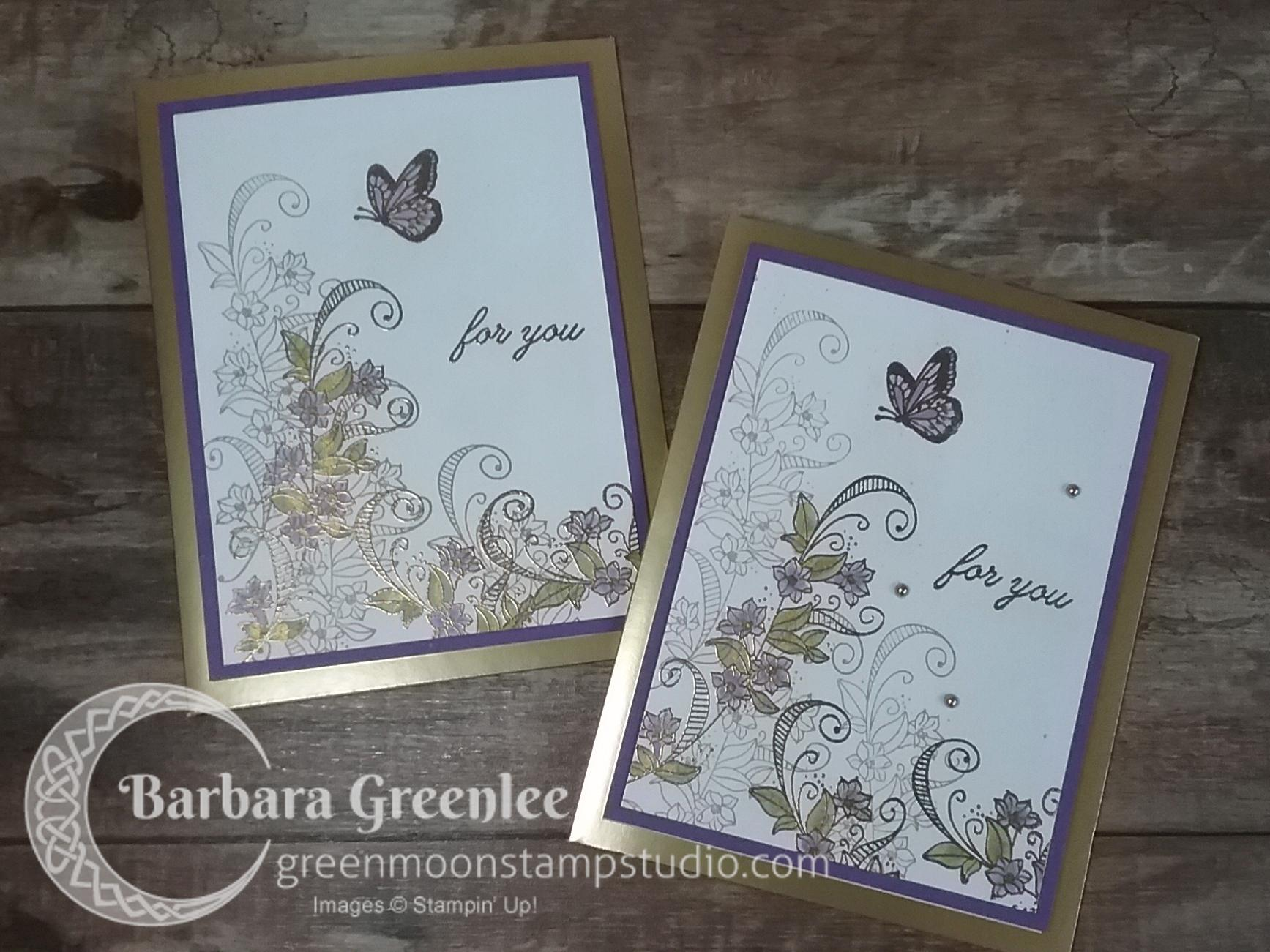 Beauty Abounds stamp set with Gorgeous Grape and gold embossing with a wash of shimmer Vegas Gold.