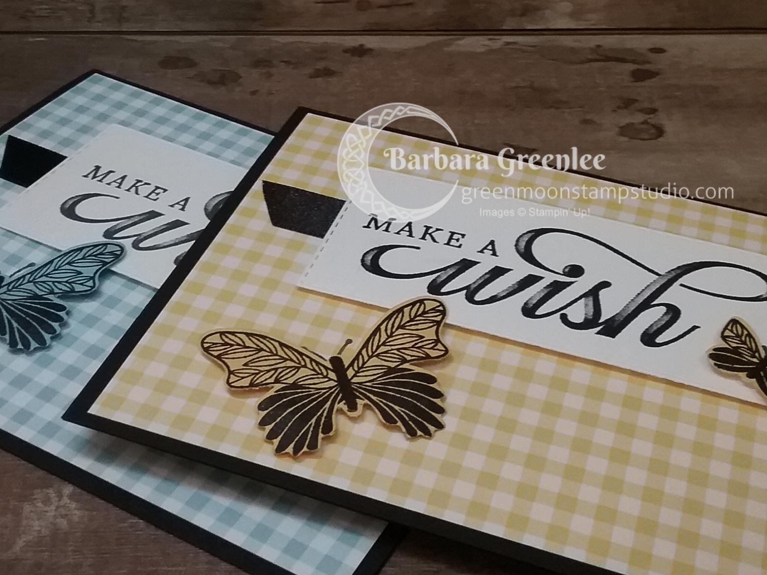 I used the Gingham Gala paper, the Butterfly Gala bundle, and the Life is Grand set to make a set of 4 birthday cards.