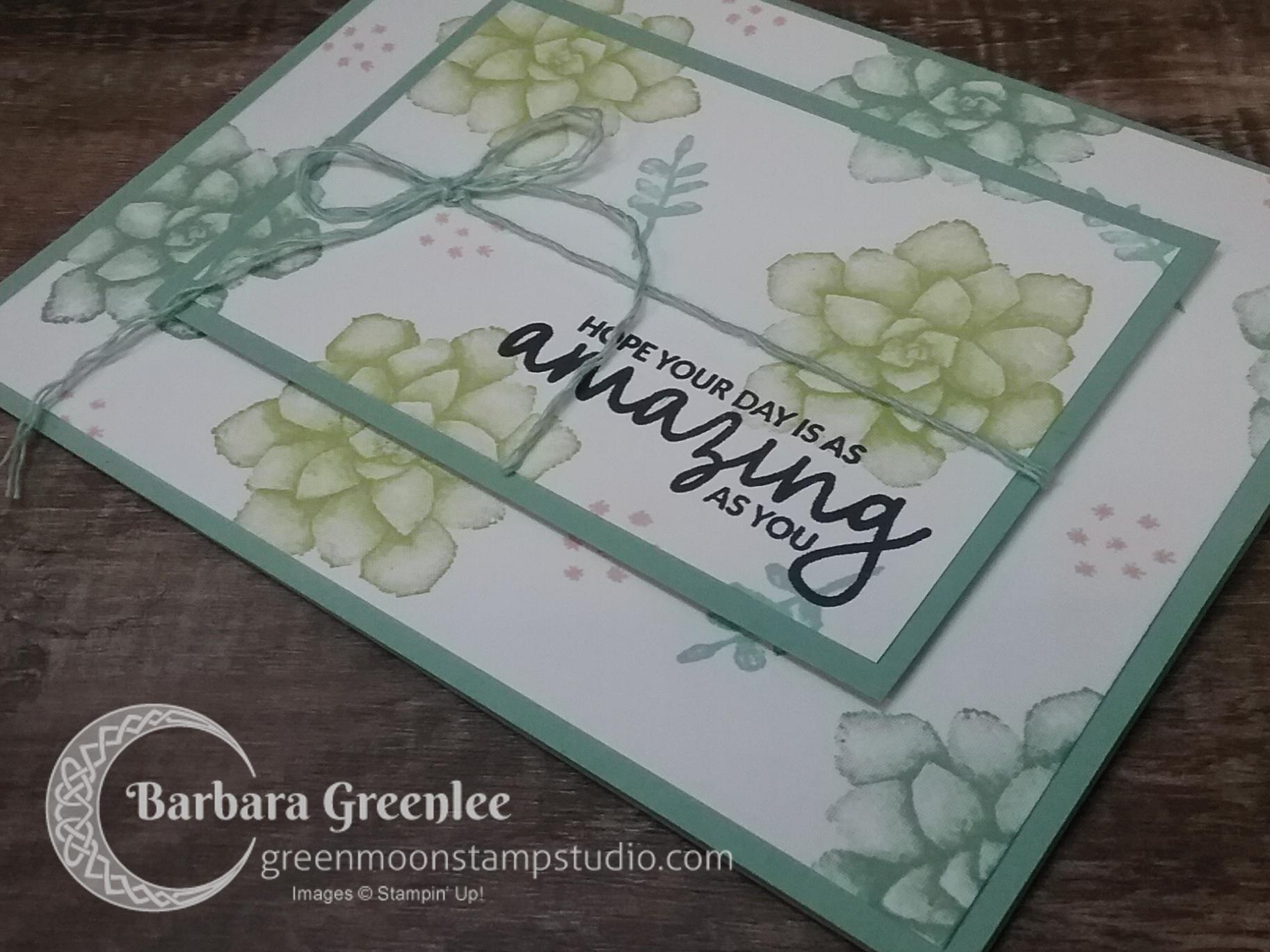 Painted Seasons stamp set using the double time stamping technique. Here's a close up of the card.