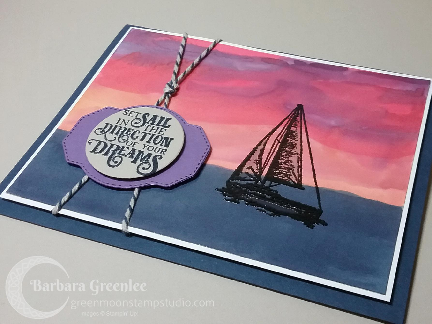 Sailing Home stamp set Sunset card. Hand painted on glossy white card stock.