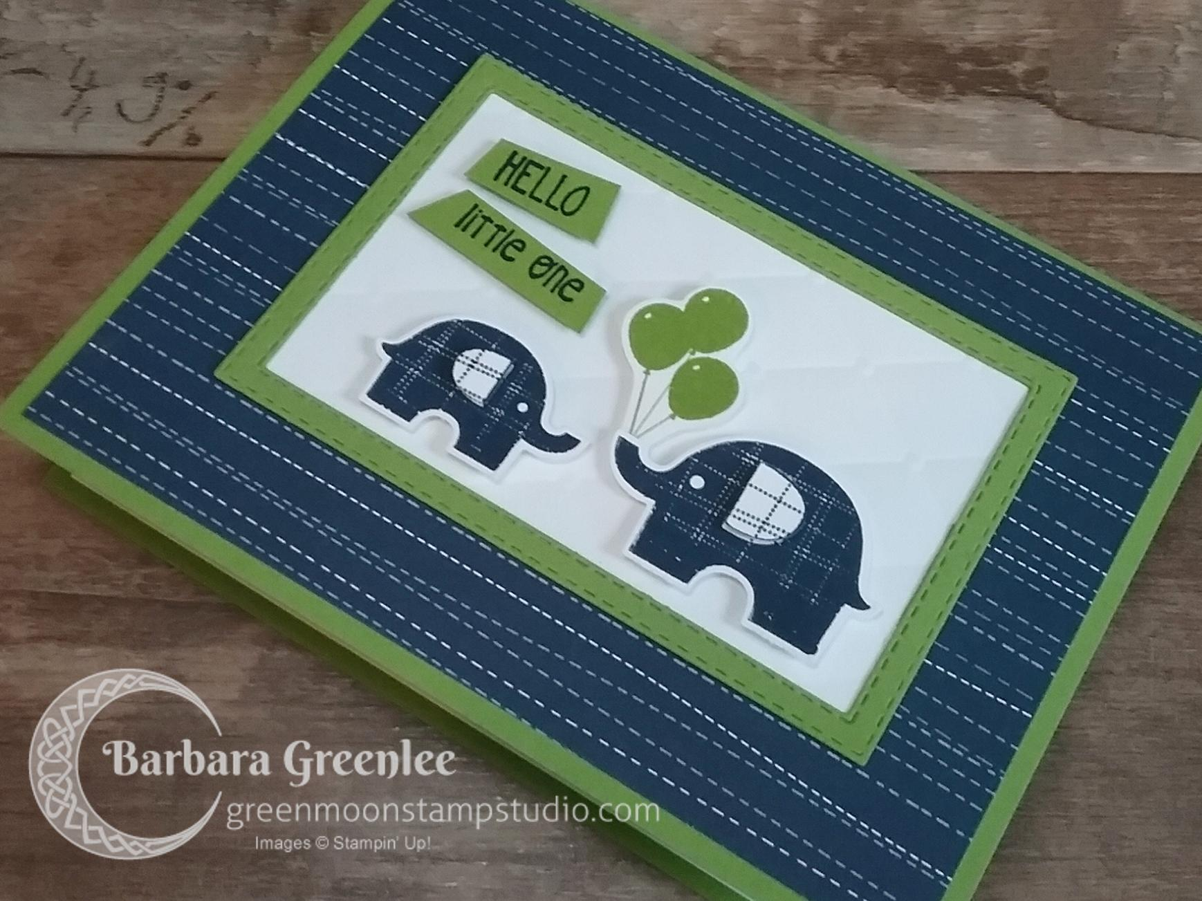 Stampin Up Little Elephant Baby Card (close-up)