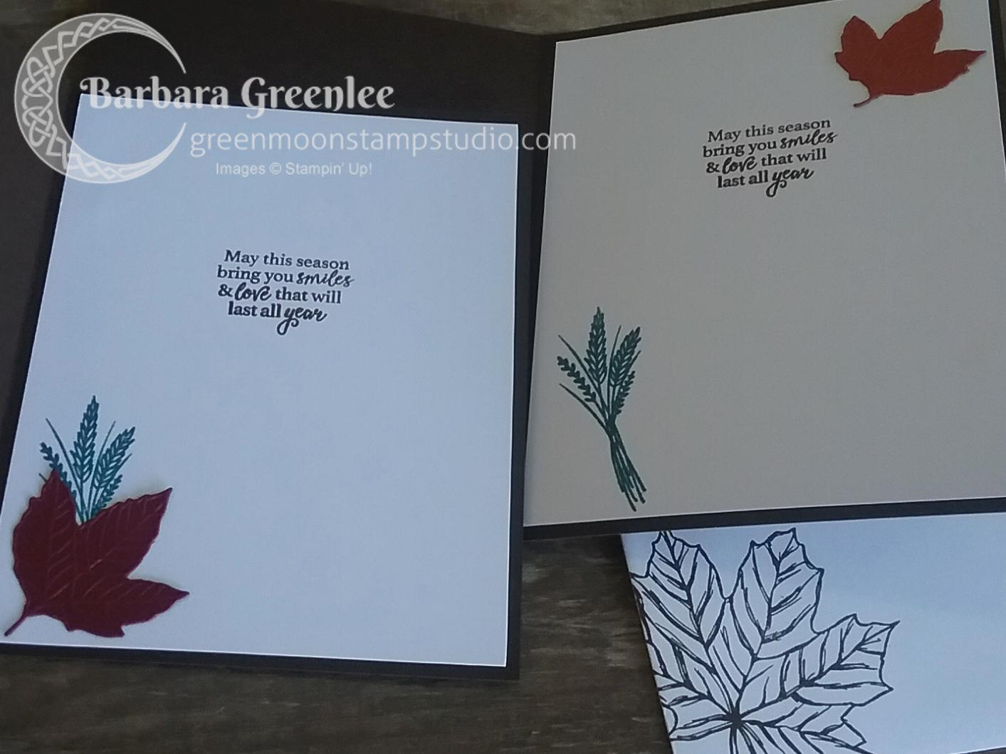 I designed a Fall card for my club using it and the Gather Together stamp set. Here's the inside.