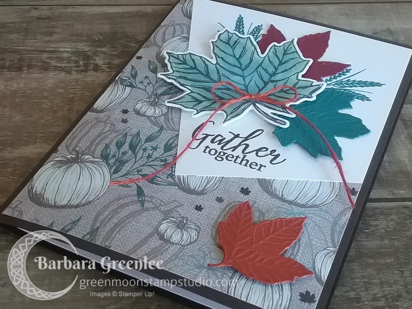 The Come To Gather Designer Series Paper has several versatile designs, but my favorite sheet is this neutral pumpkin piece. I designed a Fall card for my club using it and the Gather Together stamp set.