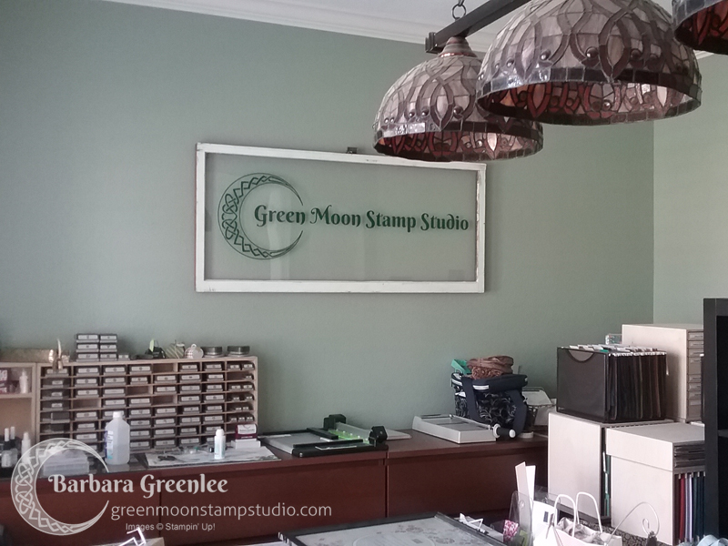 My stamp studio makeover is well under way to being finished for my Grand Re-Opening event.  When I changed my business name from Barbara's Craft Circle to Green Moon Stamp Studio a couple of year's ago, I knew I wanted to re-paint my studio from red to green which is my favorite color anyway.