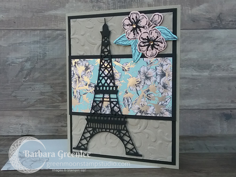 This is my second card using the Parisian Flourish embossing folder.  I did one for a class in Mesquite, but I also wanted to do a version using the coordinating specialty designer series paper and the dies.  Look at the metallic shine on that paper...makes me so happy!