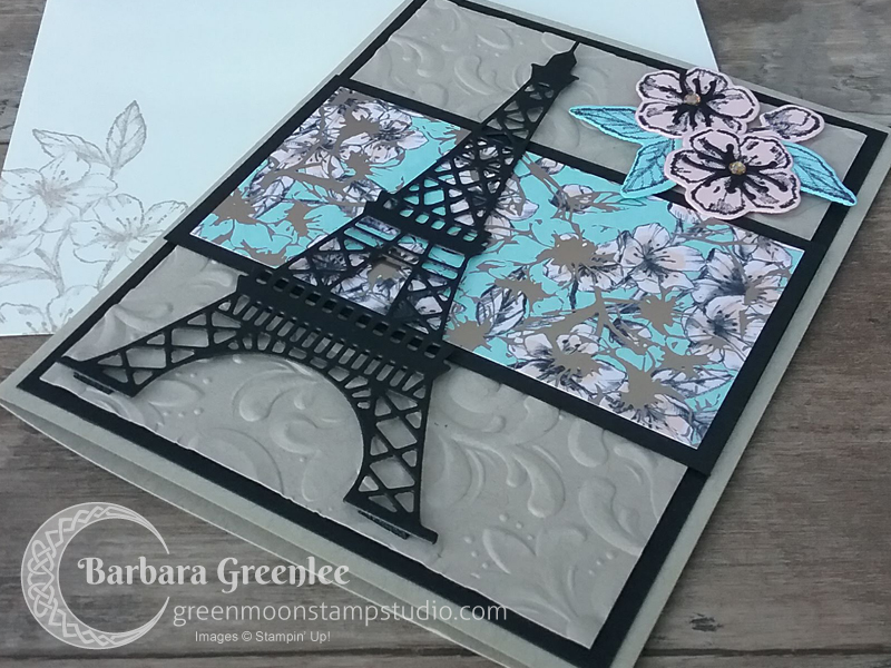 This is my second card using the Parisian Flourish embossing folder.  I did one for a class in Mesquite, but I also wanted to do a version using the coordinating specialty designer series paper and the dies.